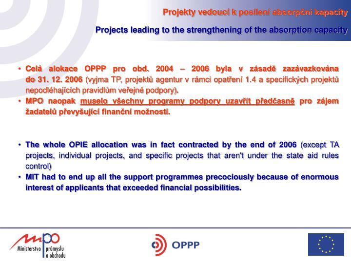 Projekty vedoucí kposílení absorpční kapacity