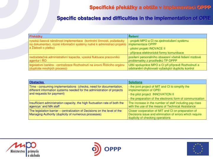 Specifické překážky a obtíže v implementaci OPPP