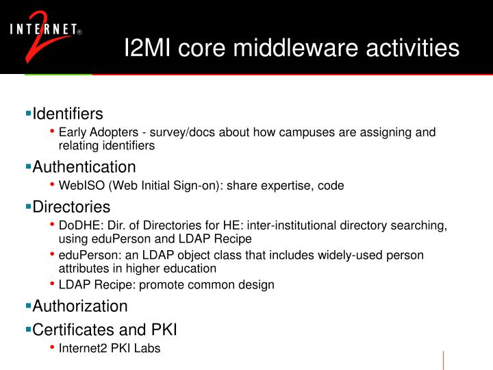 I2MI core middleware activities