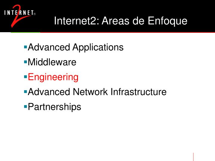 Internet2: Areas de Enfoque