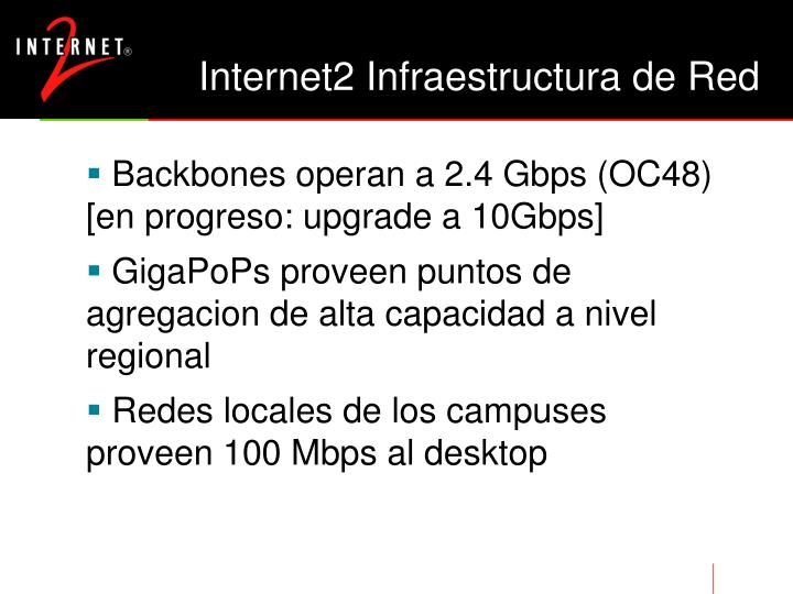 Internet2 Infraestructura de Red