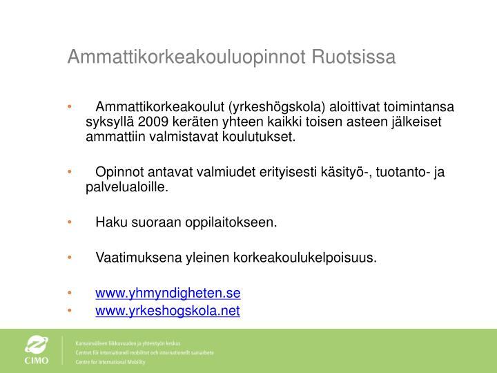 Ammattikorkeakouluopinnot Ruotsissa