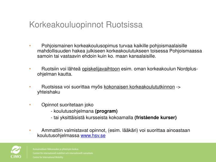 Korkeakouluopinnot Ruotsissa
