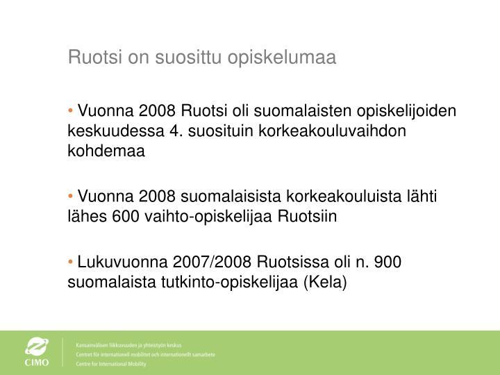 Ruotsi on suosittu opiskelumaa