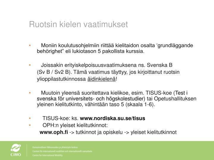 Ruotsin kielen vaatimukset