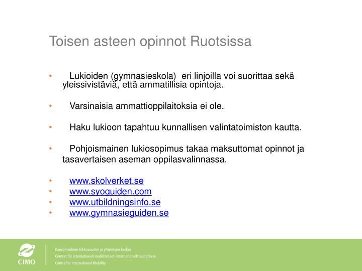 Toisen asteen opinnot Ruotsissa