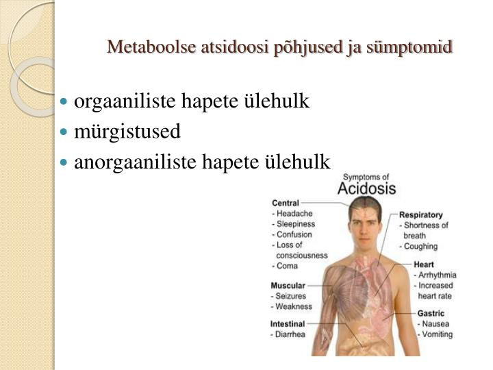 Metaboolse atsidoosi põhjused ja sümptomid