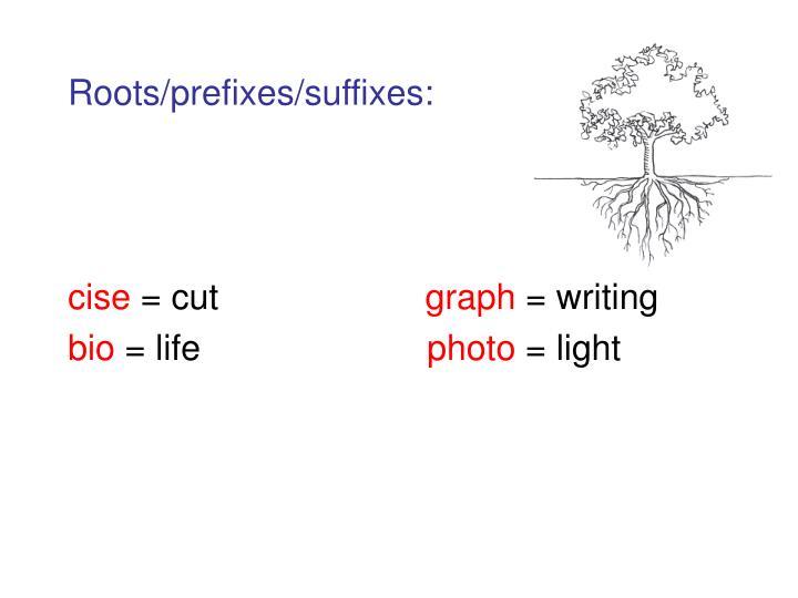 Roots/prefixes/suffixes: