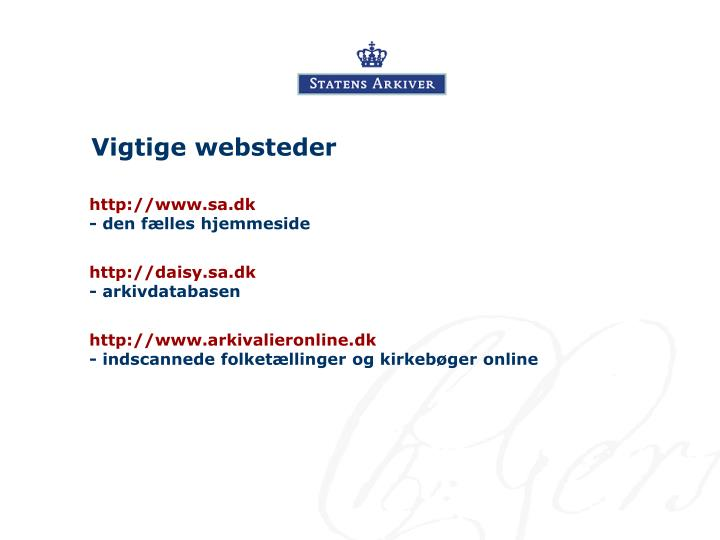 Vigtige websteder
