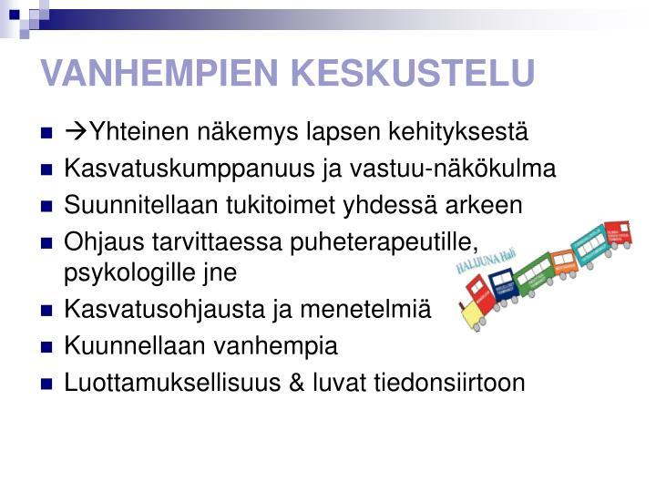 VANHEMPIEN KESKUSTELU