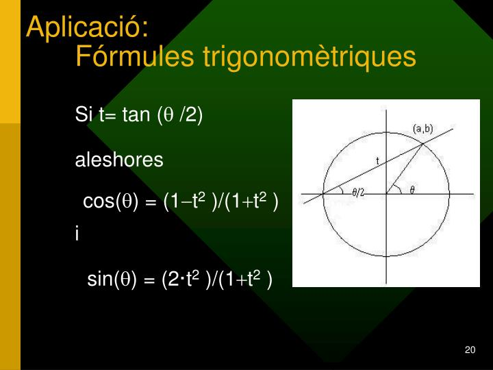 Aplicació:             Fórmules trigonomètriques