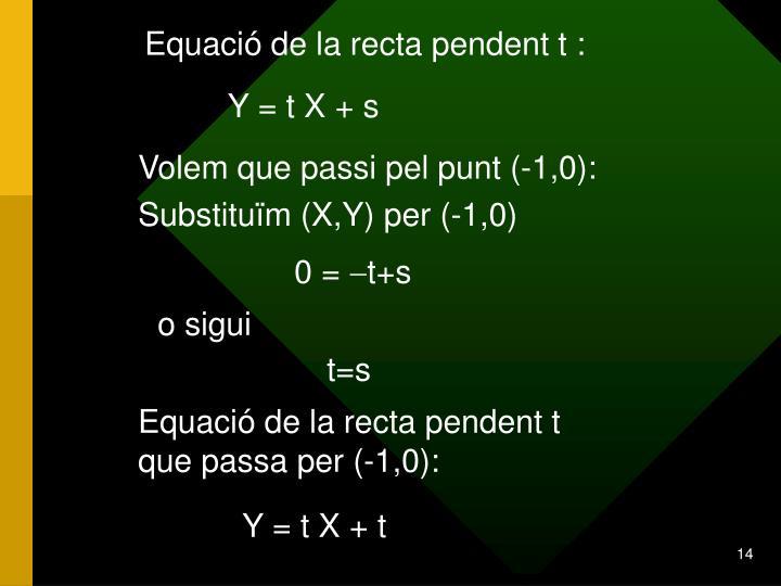 Equació de la recta pendent t :