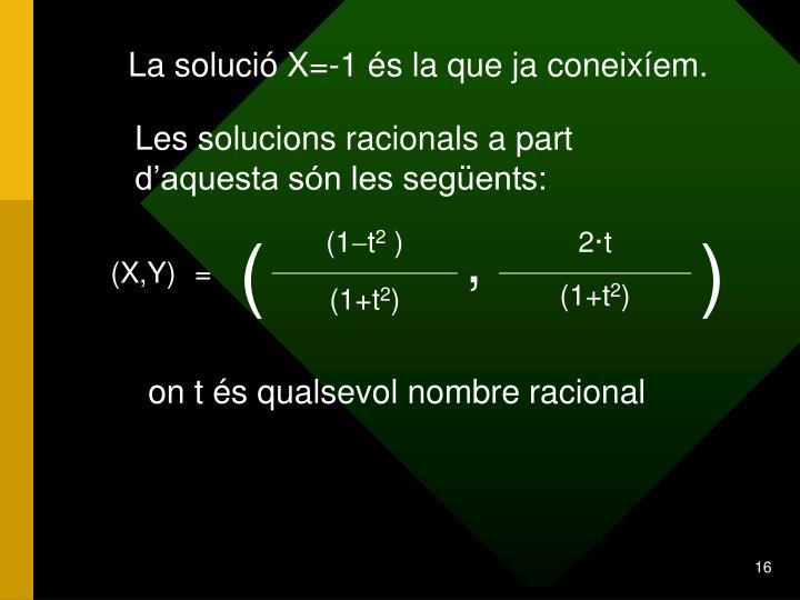 La solució X=-1 és la que ja coneixíem.