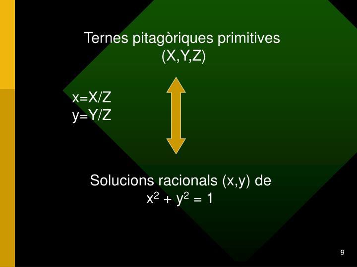 Ternes pitagòriques primitives                                       (X,Y,Z)