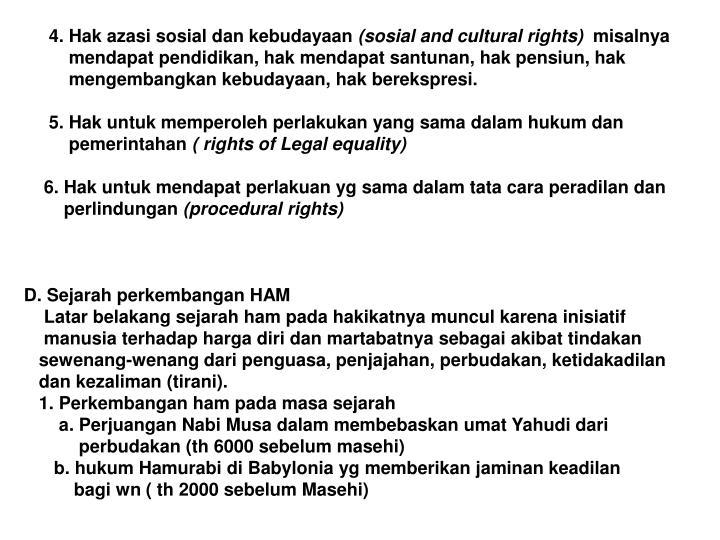 4. Hak azasi sosial dan kebudayaan