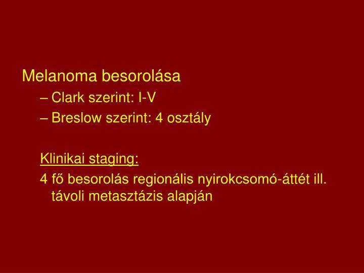 Melanoma besorolása