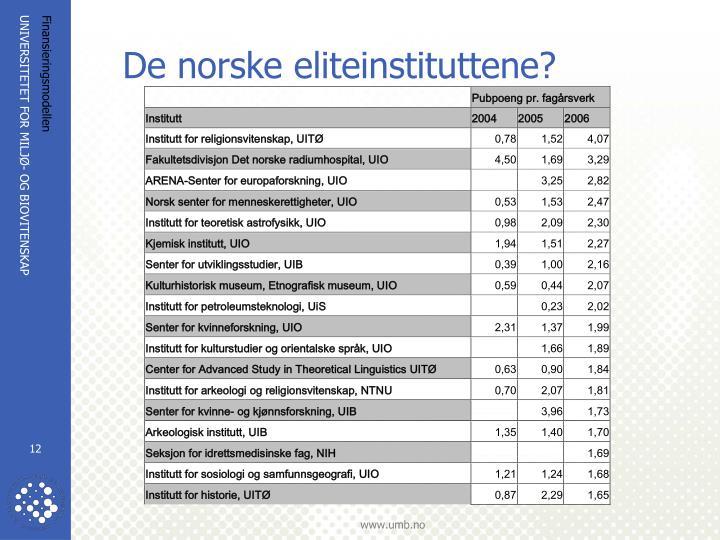 De norske eliteinstituttene?