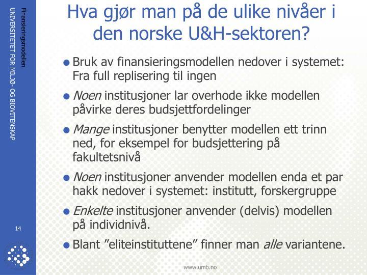 Hva gjør man på de ulike nivåer i den norske U&H-sektoren?