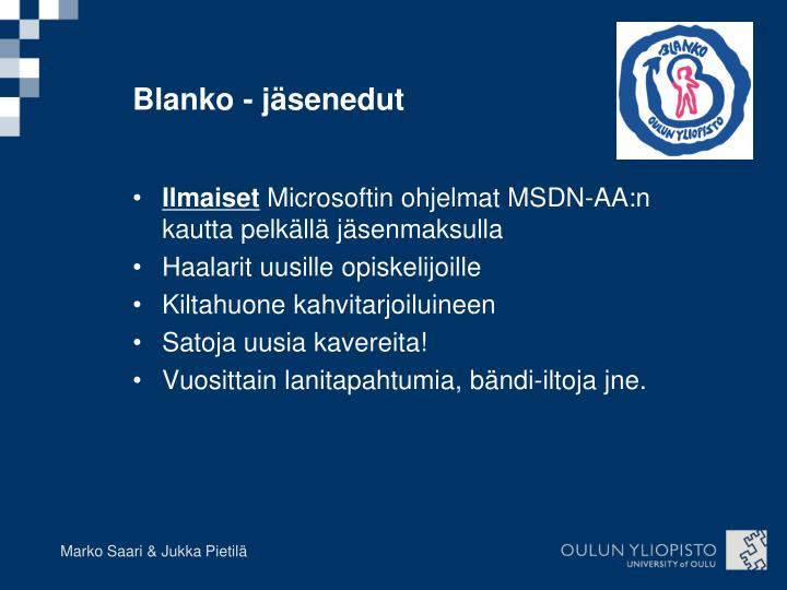 Blanko - jäsenedut