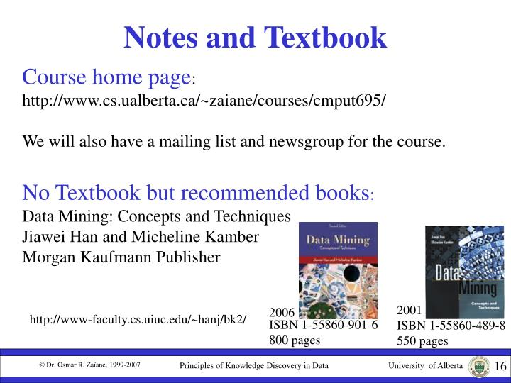 Notes and Textbook