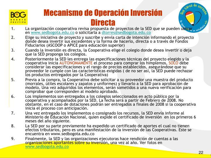 Mecanismo de Operación Inversión Directa