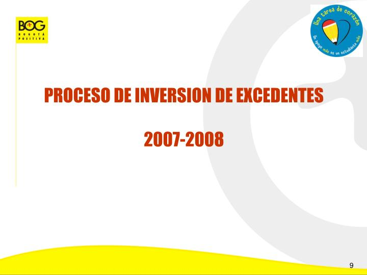 PROCESO DE INVERSION DE EXCEDENTES