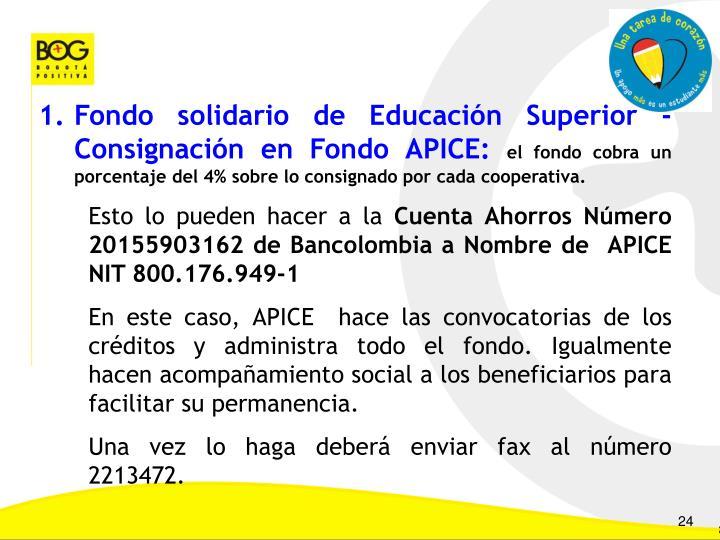 Fondo solidario de Educación Superior - Consignación en Fondo APICE: