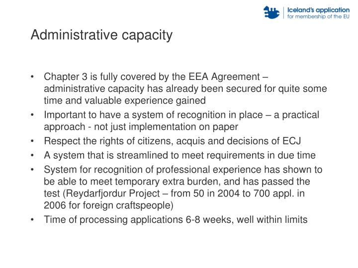 Administrative capacity