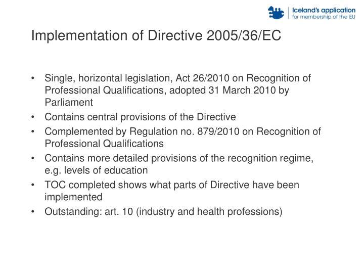 Implementation of Directive 2005/36/EC