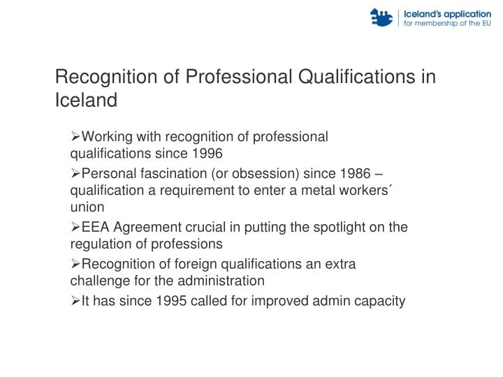 Recognition of Professional Qualifications in Iceland