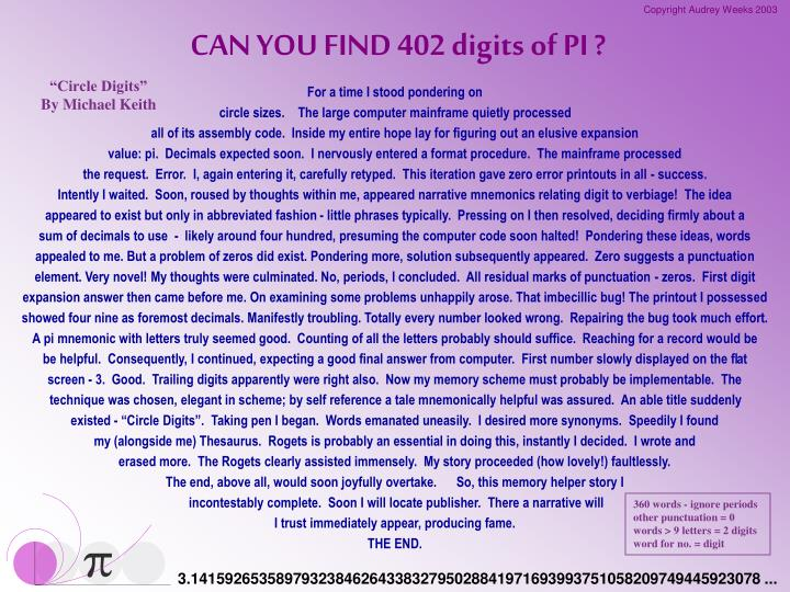 CAN YOU FIND 402 digits of PI ?