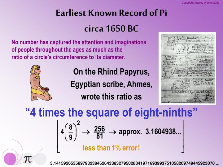 Earliest Known Record of Pi