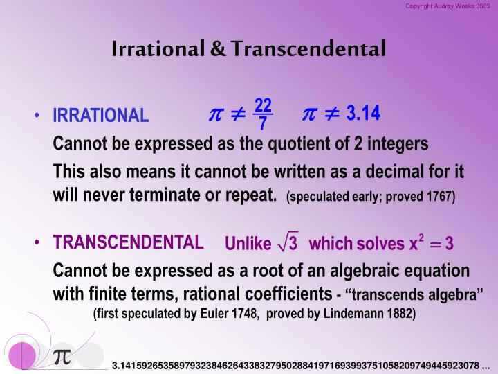Irrational & Transcendental