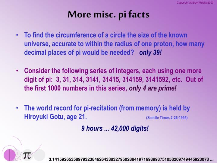 More misc. pi facts