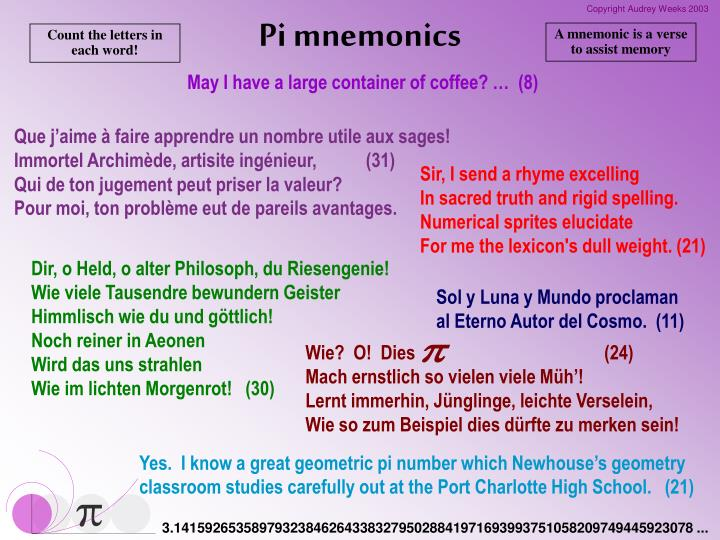 A mnemonic is a verse to assist memory