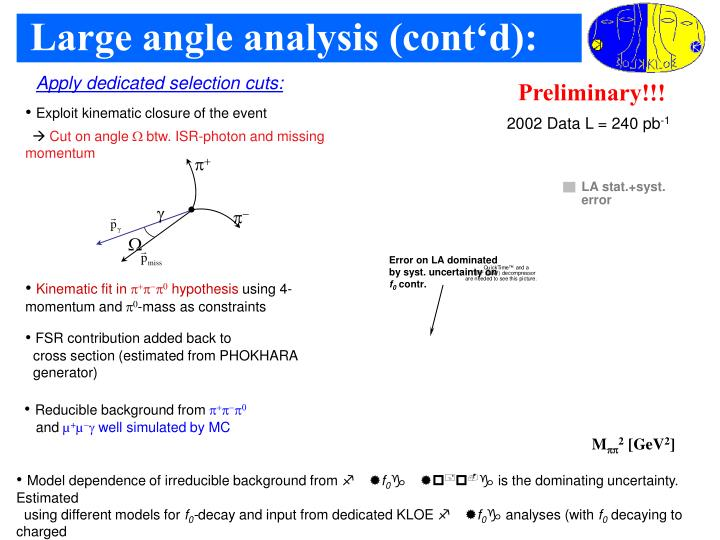 Large angle analysis (cont'd):