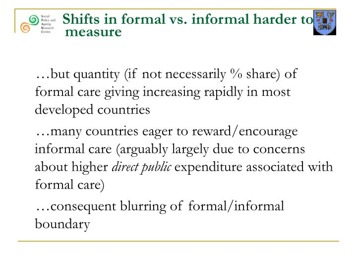 Shifts in formal vs. informal harder to   measure