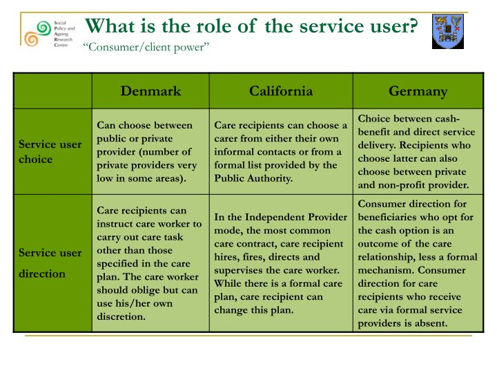 What is the role of the service user?