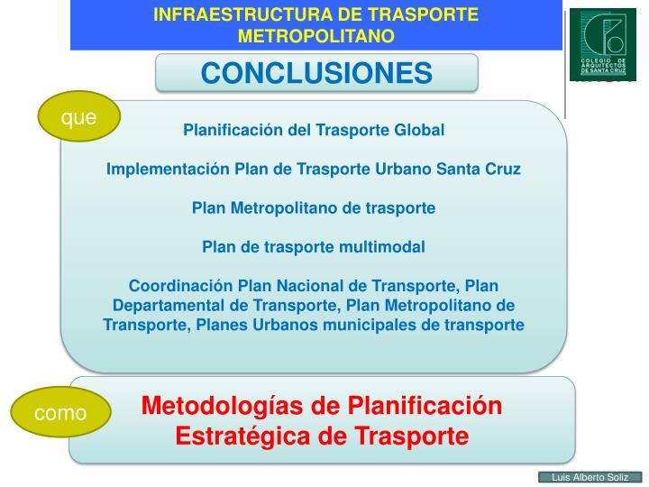 INFRAESTRUCTURA DE TRASPORTE METROPOLITANO