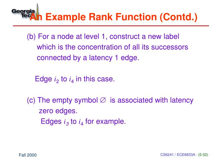 An Example Rank Function (Contd.)