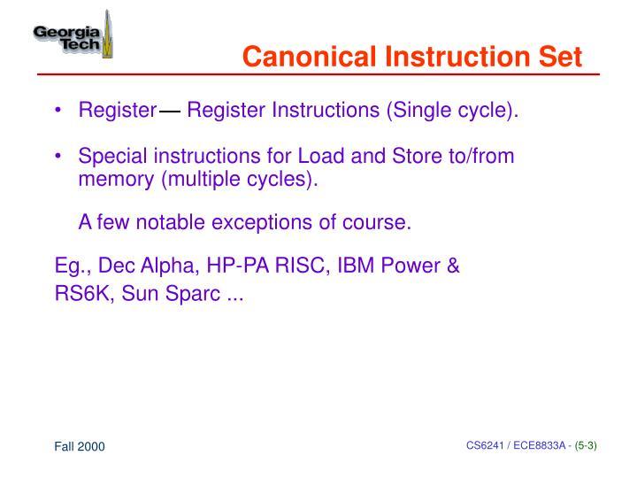 Canonical Instruction Set