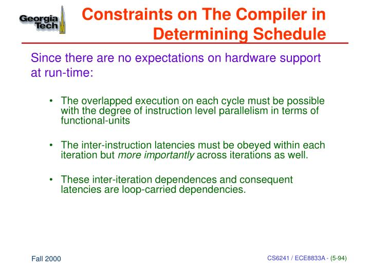 Constraints on The Compiler in Determining Schedule