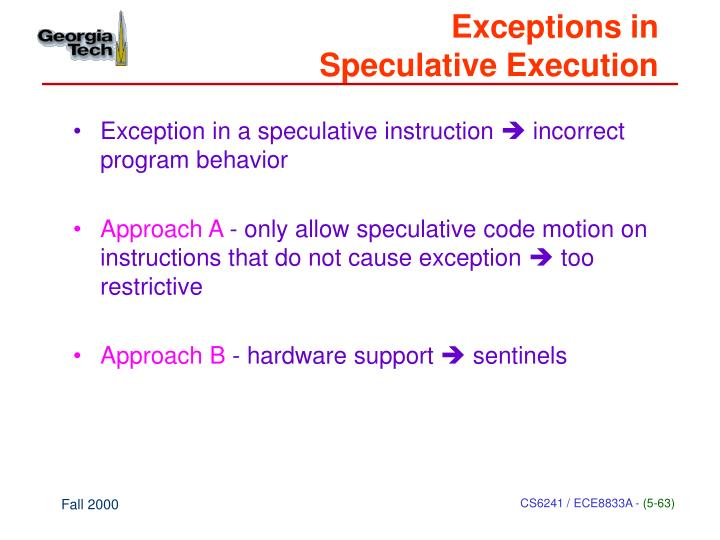 Exceptions in
