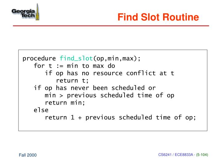 Find Slot Routine