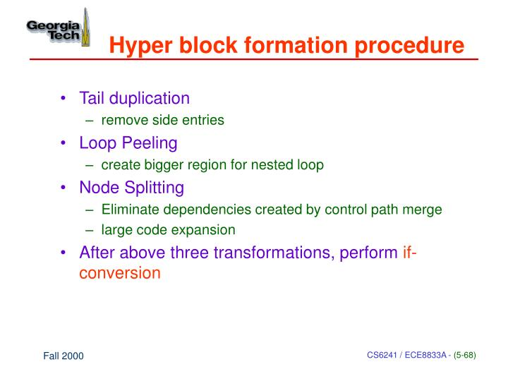 Hyper block formation procedure