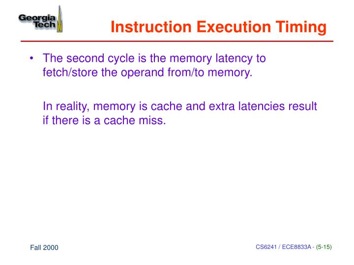 Instruction Execution Timing