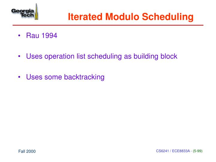 Iterated Modulo Scheduling