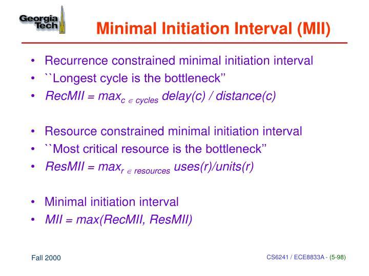 Minimal Initiation Interval (MII)