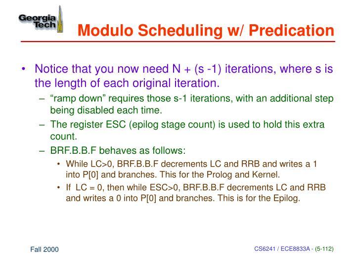 Modulo Scheduling w/ Predication