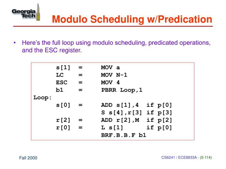 Modulo Scheduling w/Predication